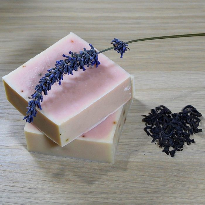 Pink Soap with Lavender and tea heart