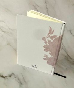 reverse of journal on marble background