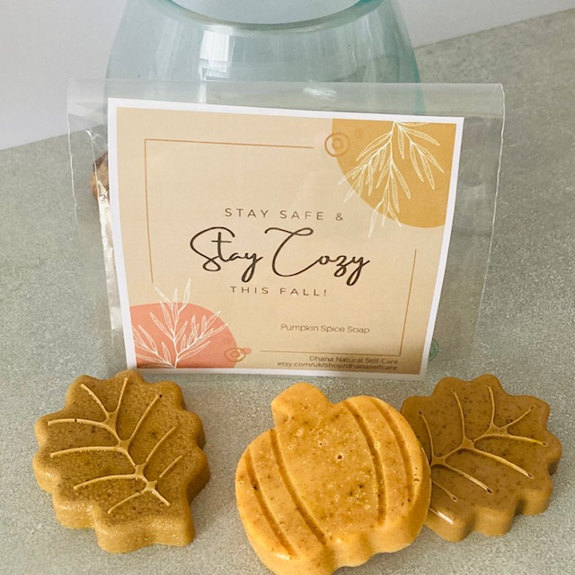 stay cozy soaps with leaf and pumpkin shapes