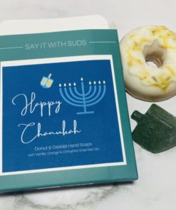 Happy Chanukah Box with donut and dreidel soap beside it